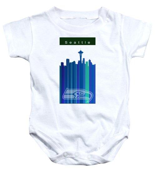 Seattle Sehawks Skyline Baby Onesie by Alberto RuiZ
