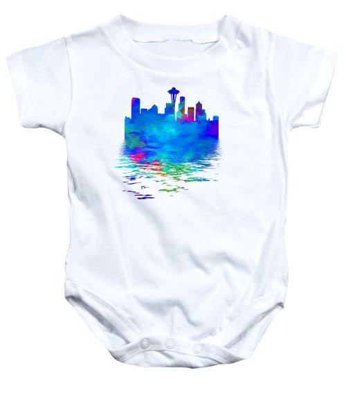 Seattle Skyline, Blue Tones On White Baby Onesie by Pamela Saville