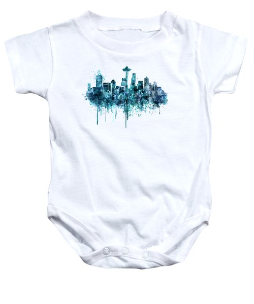 Seattle Skyline Monochrome Watercolor Baby Onesie by Marian Voicu