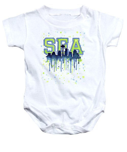 Seattle Watercolor 12th Man Art Painting Space Needle Go Seahawks Baby Onesie by Olga Shvartsur
