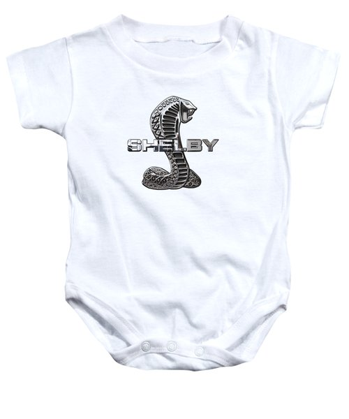 Shelby Cobra - 3d Badge On Blue And White Baby Onesie by Serge Averbukh