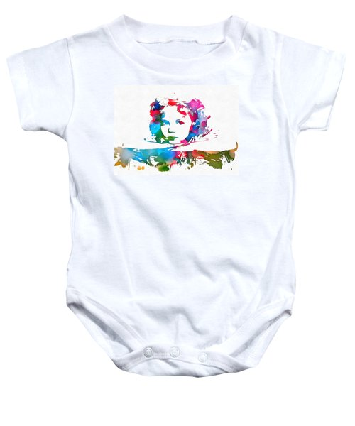 Shirley Temple Watercolor Paint Splatter Baby Onesie by Dan Sproul