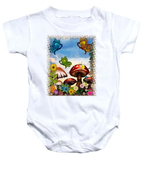 Shroomvilla Summer Fantasy Folk Art Baby Onesie by Sharon and Renee Lozen