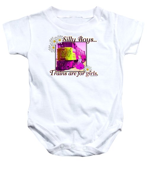 Silly Boys, Trains Baby Onesie by Sheri Cockrell