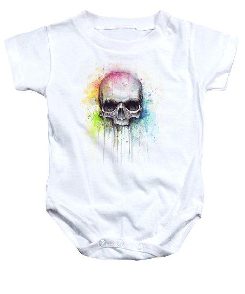 Skull Watercolor Painting Baby Onesie by Olga Shvartsur