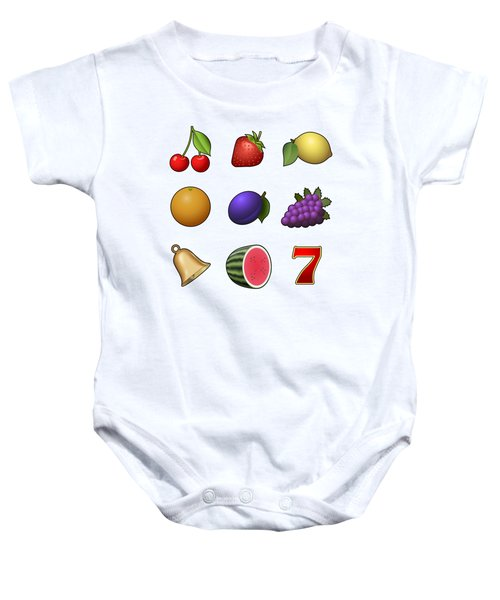 Slot Machine Fruit Symbols Baby Onesie by Miroslav Nemecek