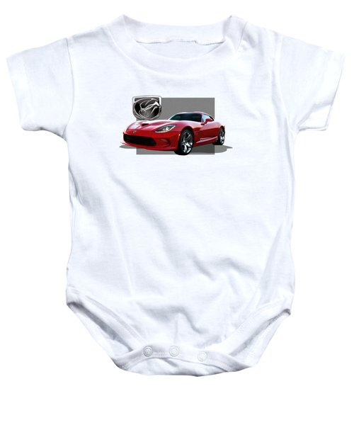 S R T  Viper With  3 D  Badge  Baby Onesie by Serge Averbukh