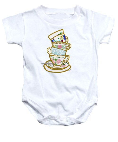 Stacked Teacups Baby Onesie by Priscilla Wolfe