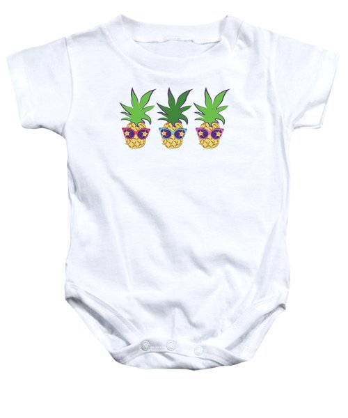 Summer Pineapples Wearing Retro Sunglasses Baby Onesie by MM Anderson