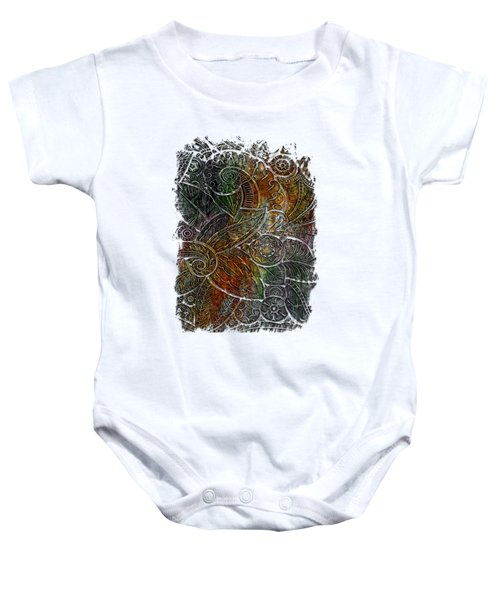 Swan Dance Muted Rainbow 3 Dimensional Baby Onesie by Di Designs