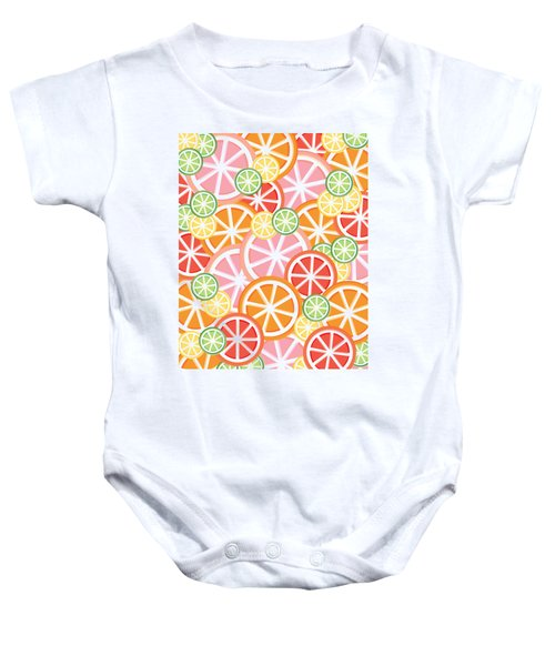 Sweet And Sour Citrus Print Baby Onesie by Lauren Amelia Hughes