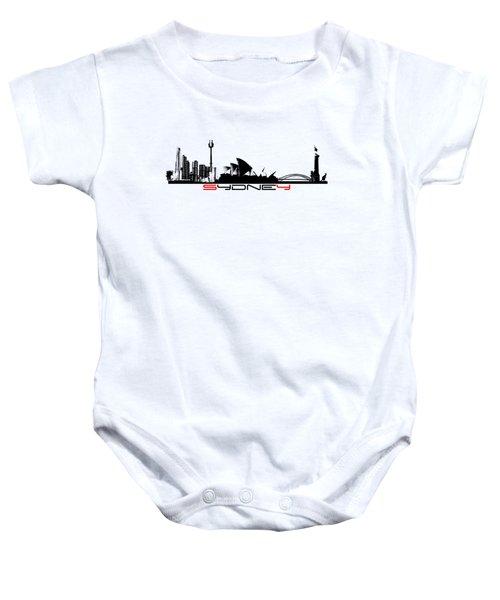Sydney Skyline Black Baby Onesie by Justyna JBJart