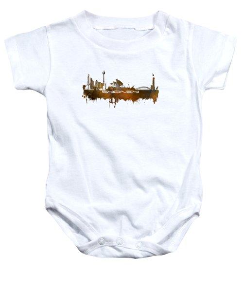 Sydney Skyline City Brown Baby Onesie by Justyna JBJart