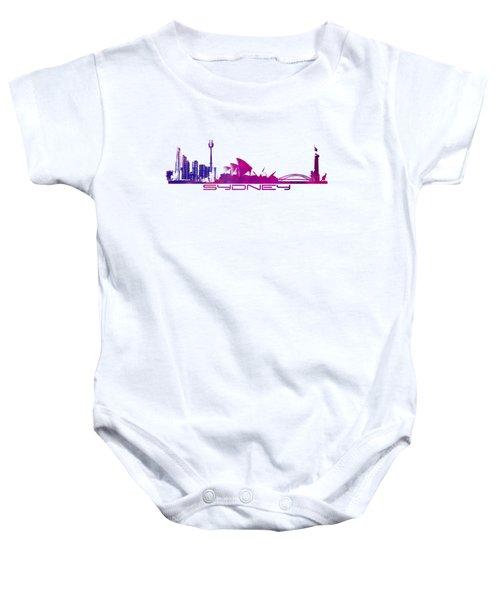 Sydney Skyline Purple Baby Onesie by Justyna JBJart