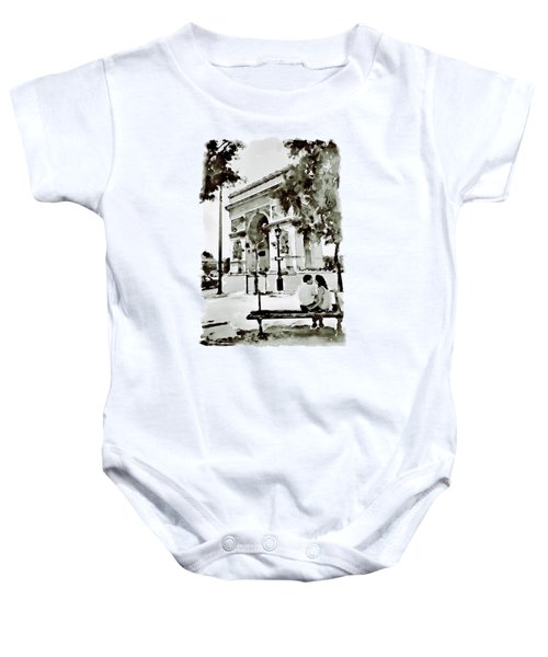 The Arc De Triomphe Paris Black And White Baby Onesie by Marian Voicu