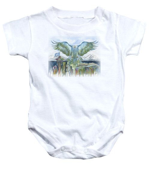 The Blue And Green Baby Onesie by Julie Senf