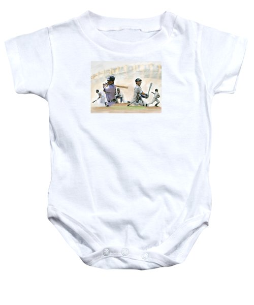 The Captains II Don Mattingly And Derek Jeter Baby Onesie by Iconic Images Art Gallery David Pucciarelli