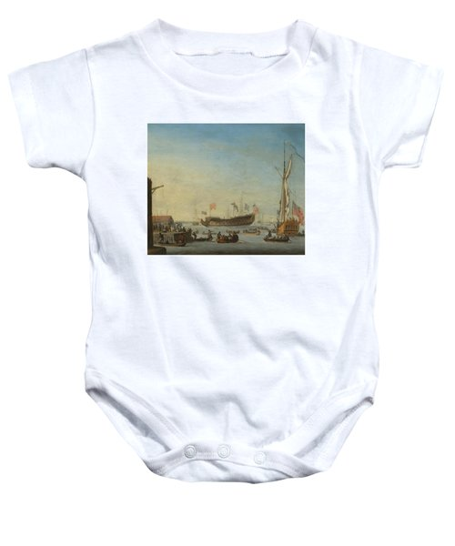 The Launch Of A Man Of War Baby Onesie by Robert Woodcock