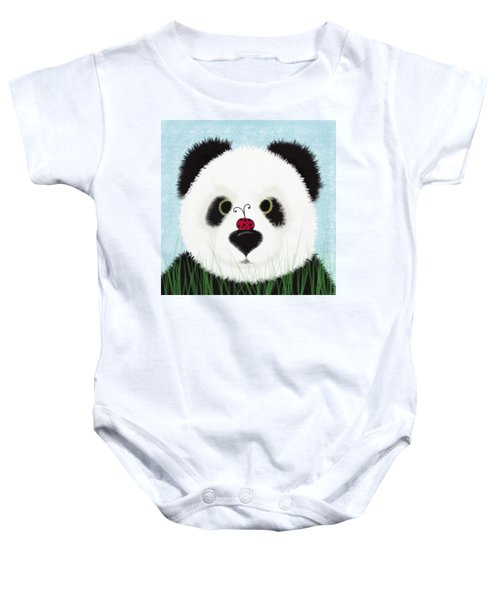 The Panda And His Visitor  Baby Onesie by Michelle Brenmark
