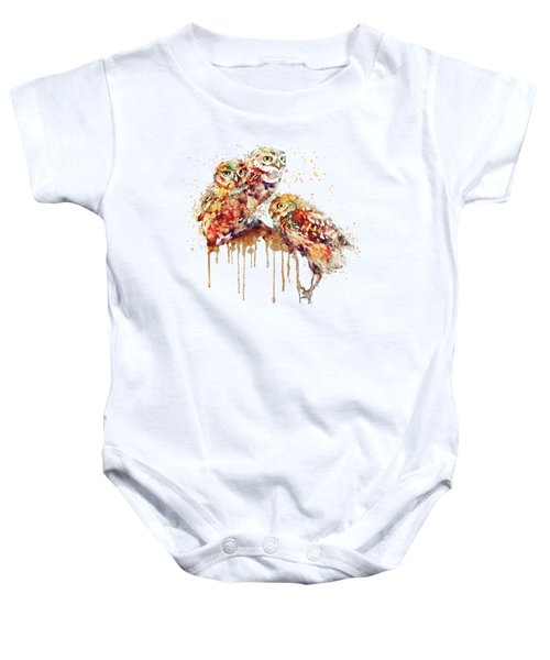 Three Cute Owls Watercolor Baby Onesie by Marian Voicu