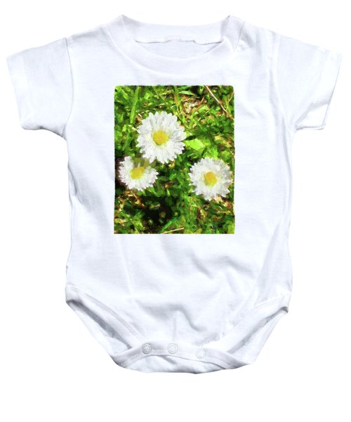 Three Daisies In The Sun Baby Onesie by Jackie VanO