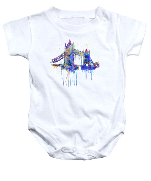 Tower Bridge Watercolor Baby Onesie by Marian Voicu