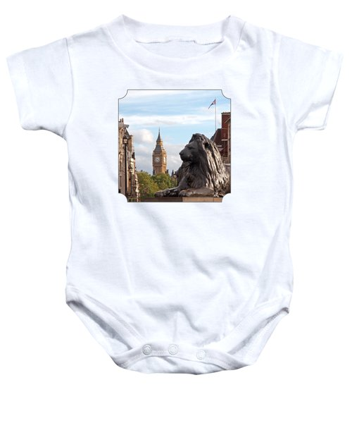 Trafalgar Square Lion With Big Ben Baby Onesie by Gill Billington