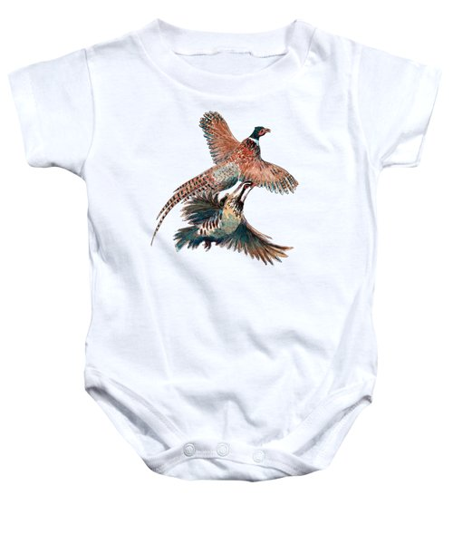 Up And Away Partridge And Pheasant Baby Onesie by Richard Skilton