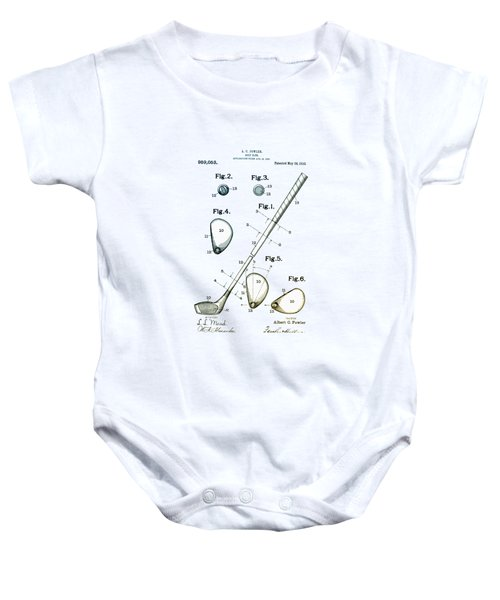 Vintage 1910 Golf Club Patent Baby Onesie by Digital Reproductions