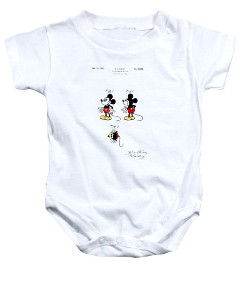 Vintage 1930 Mickey Mouse Patent Baby Onesie by Digital Reproductions