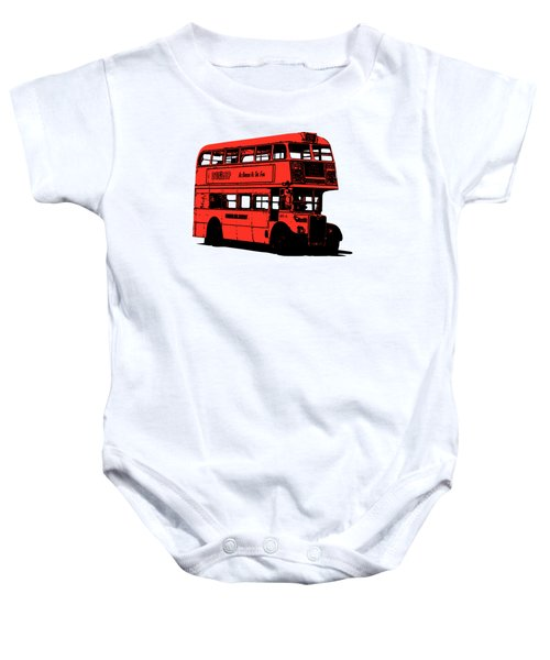Vintage Red Double Decker London Bus Tee Baby Onesie by Edward Fielding