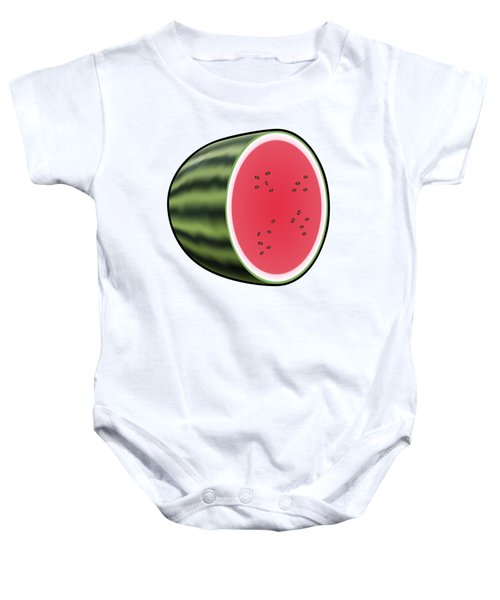 Water Melon Outlined Baby Onesie by Miroslav Nemecek