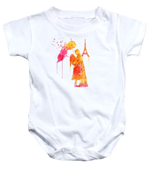 Watercolor Love Couple In Paris Baby Onesie by Marian Voicu