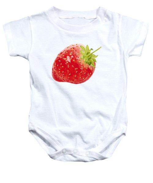 Watercolor Strawberry Baby Onesie by Kathleen Skinner