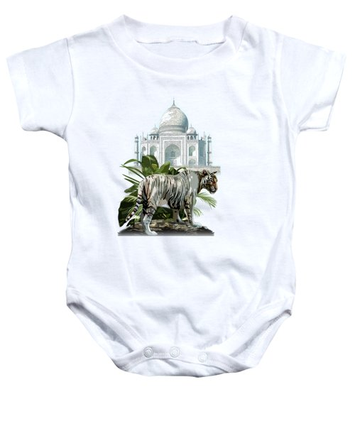 White Tiger And The Taj Mahal Image Of Beauty Baby Onesie by Regina Femrite