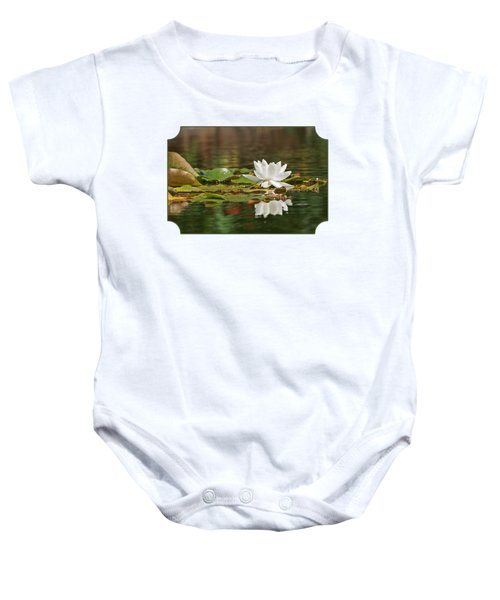 White Water Lily With Damselflies Baby Onesie by Gill Billington