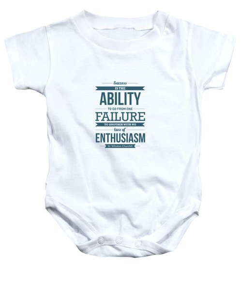 Winston Churchill British Politician Typography Quote Poster Baby Onesie by Lab No 4 - The Quotography Department