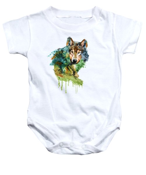 Wolf Face Watercolor Baby Onesie by Marian Voicu
