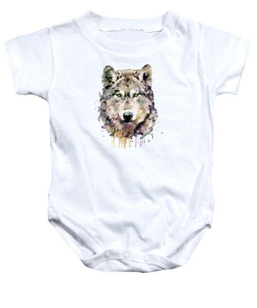 Wolf Head Baby Onesie by Marian Voicu