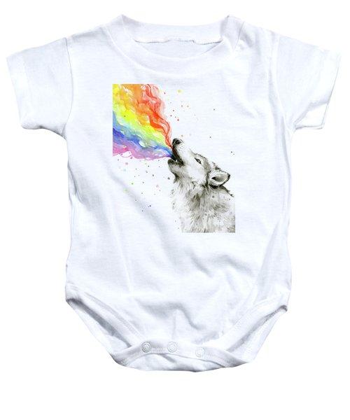 Wolf Rainbow Watercolor Baby Onesie by Olga Shvartsur