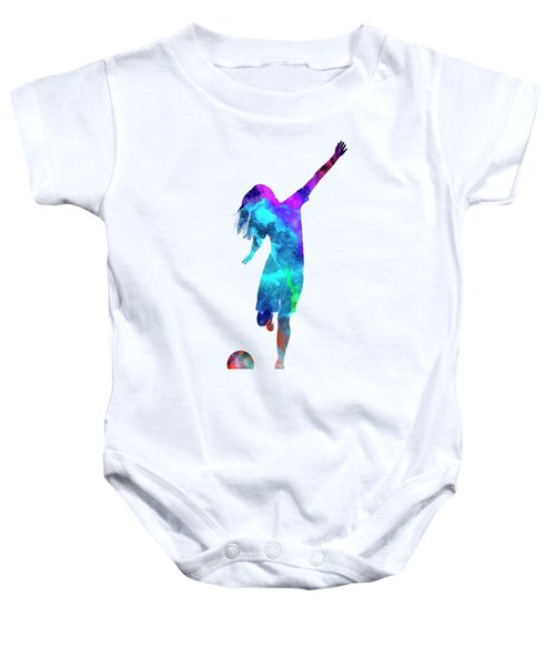 Woman Soccer Player 05 In Watercolor Baby Onesie by Pablo Romero