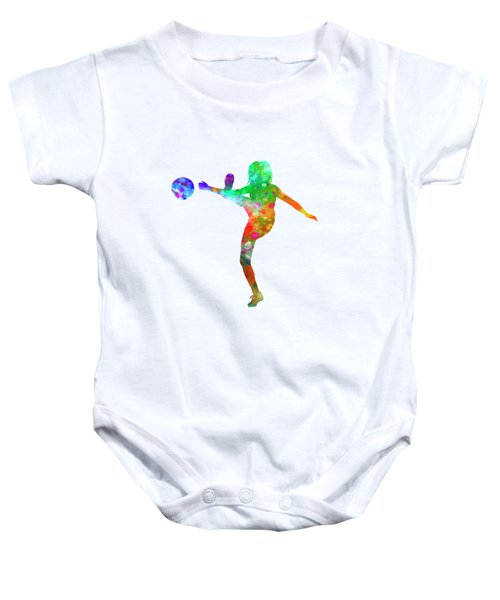 Woman Soccer Player 17 In Watercolor Baby Onesie by Pablo Romero