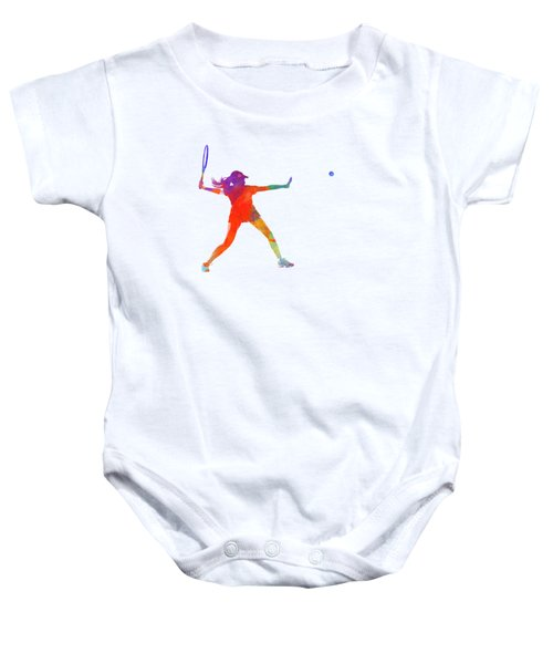 Woman Tennis Player 01 In Watercolor Baby Onesie by Pablo Romero