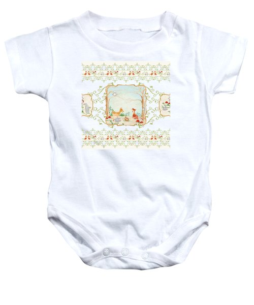 Woodland Fairy Tale - Aqua Blue Forest Gathering Of Woodland Animals Baby Onesie by Audrey Jeanne Roberts