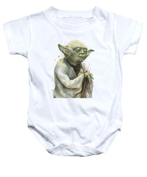 Yoda Watercolor Baby Onesie by Olga Shvartsur
