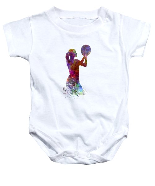 Young Woman Basketball Player 03 In Watercolor Baby Onesie by Pablo Romero