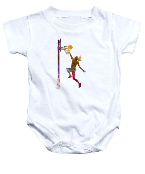 Young Woman Basketball Player 04 In Watercolor Baby Onesie by Pablo Romero