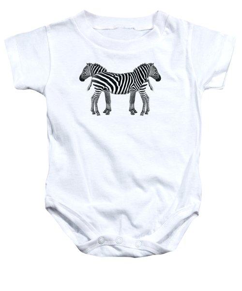 Zebra Pair On Black Baby Onesie by Gill Billington