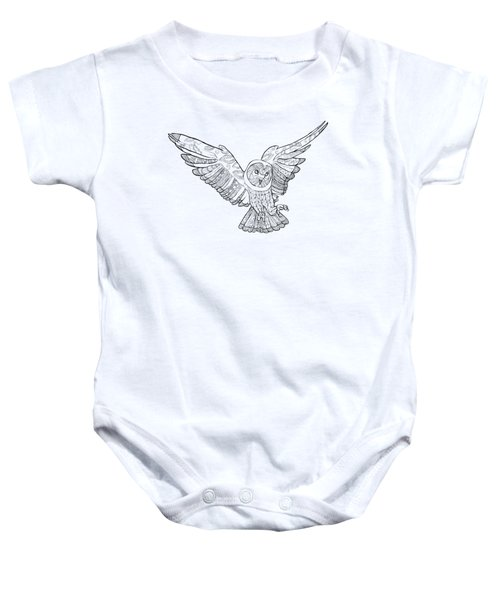 Zentangle Owl In Flight Baby Onesie by Cindy Elsharouni