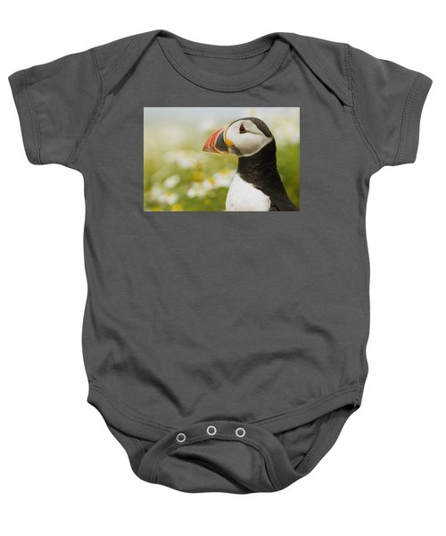 Atlantic Puffin In Breeding Plumage Baby Onesie by Sebastian Kennerknecht